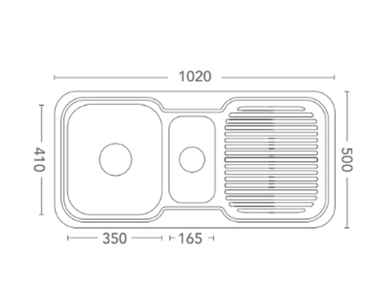 1 & 12 Bowl + Single Drainer1020 X 500 X 190