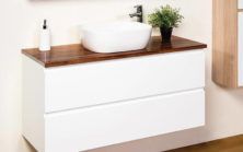 Mode Bella 1200 Wall Hung With Tas Blackwood Bench Top & Essence 480 Basin
