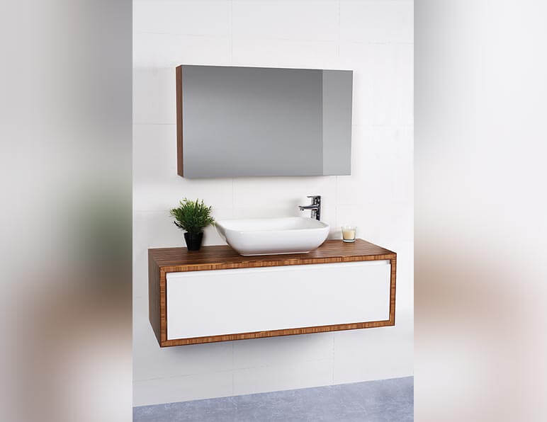 Mode Pure 1200 With Matching Mirrored Shaving Cabinet