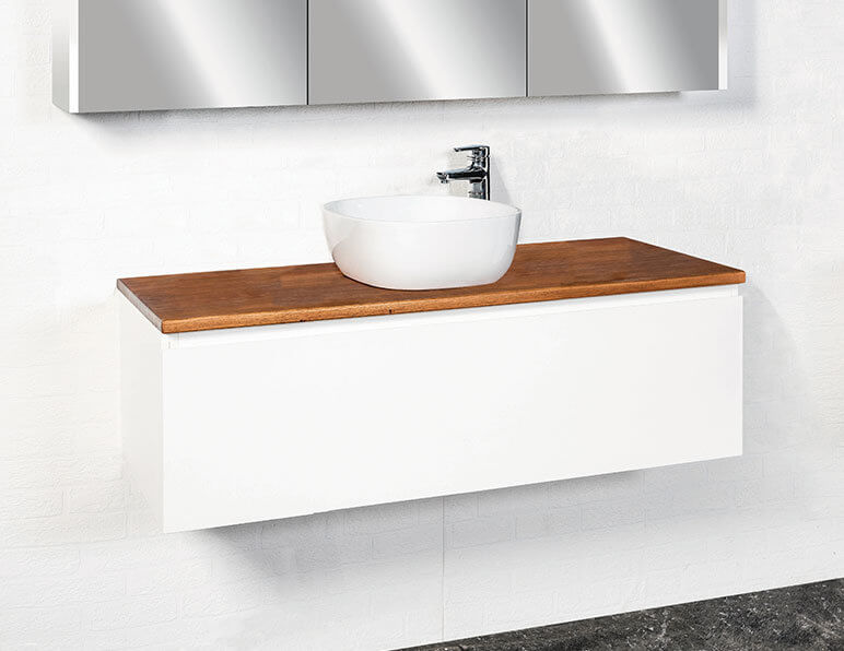 Inspire 1200 Shown In Satin White With Timber Bench Top In Blackbutt And Essence 480 Basin