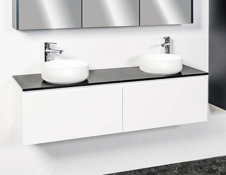 Inspire 1500 Shown In Gloss White With Caesarstone Bench Top In And 2 X Cirque 360 Basins